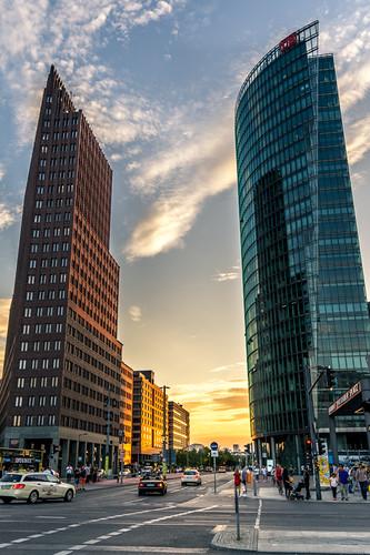 Coucher de soleil Potsdamer Platz
