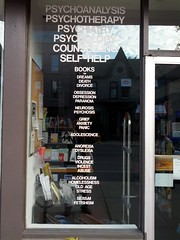 Psychotherapy bookstore window subject list, H...