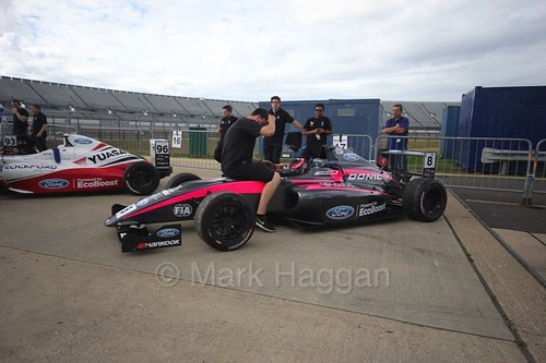 Carrie Schreiner before the  British F4 race at Rockingham, August 2016
