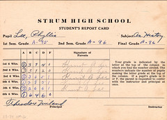 1933 - Grandma's 10th grade report card - hist...
