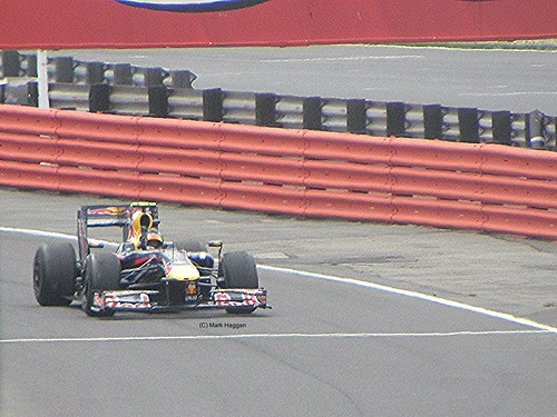 Sebastian Vettel returns to the pits after winning the 2009 British Grand Prix