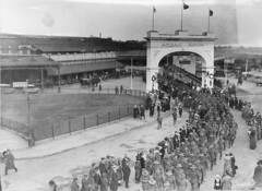 Soldiers returned from war service marching fr...