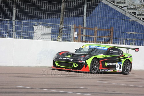 Tom Wrigley in the Ginetta GT4 Supercup at Rockingham, August 2016