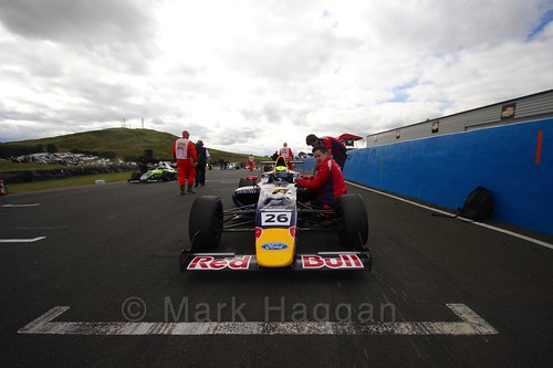 Luis Leeds on the grid ahead of the final British Formula Four grid during the BTCC Knockhill Weekend 2016
