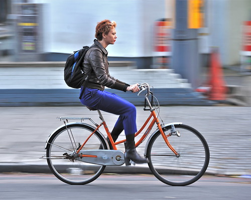 street urban orange woman motion london bike bicycle... (Photo: jeremyhughes on Flickr)