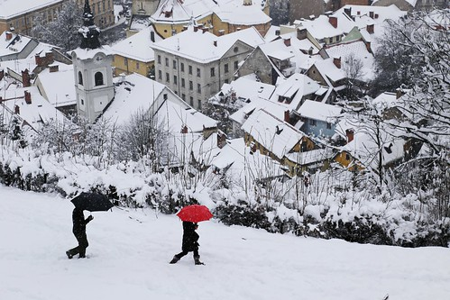 Snowing on the top of Ljubljana