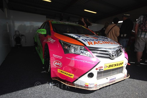 Jake Hill's car in the Team HARD garage at the BTCC 2016 Weekend at Snetterton