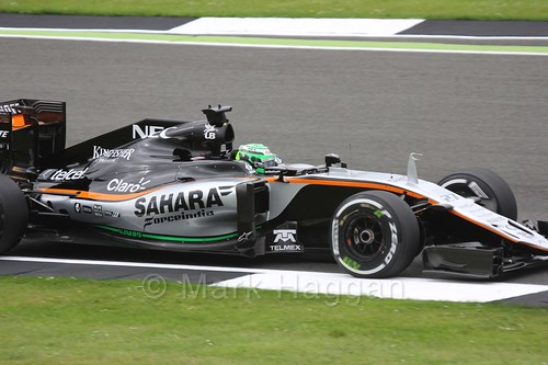 Nico Hülkenberg in his Force India during Free Practice 1 at the 2016 British Grand Prix