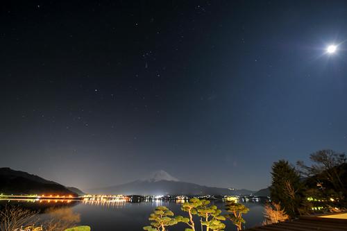 Moon, Stars, Mt. Fuji