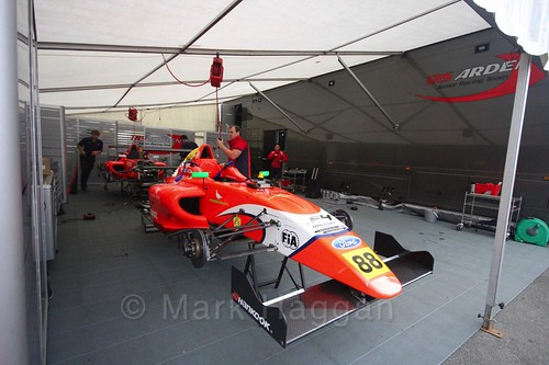 Jack Martin's car in the Arden garage in British Formula Four at the Knockhill BTCC Weekend, August 2016