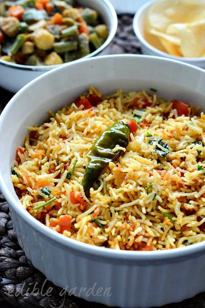 tomato rice recipe south indian tomato rice step by step edible garden. Black Bedroom Furniture Sets. Home Design Ideas