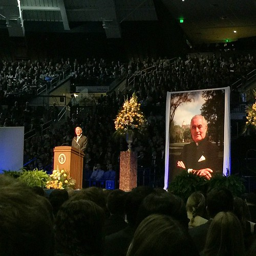 """""""Let's make sure to live the way Fr. Hesburgh would want us to. That's the only way to repay him."""" – Lou Holtz"""