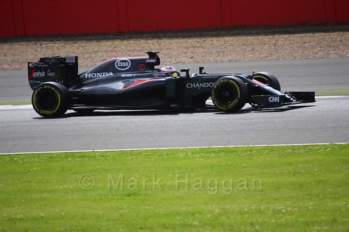 Stoffel Vandoorne driving for McLaren during Formula One In Season Testing at Silverstone, July 2016