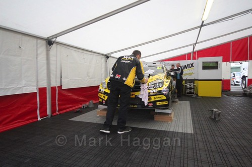The Wix Racing garage at the BTCC weekend at Knockhill, August 2016