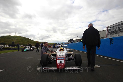 Sennan Fielding on the grid ahead of the final British Formula Four during the BTCC Knockhill Weekend 2016