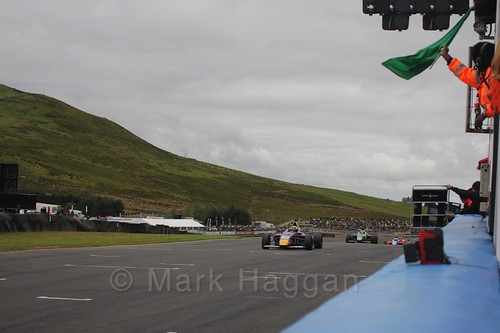 Luis Leeds in the second British Formula Four race at the Knockhill BTCC Weekend, August 2016