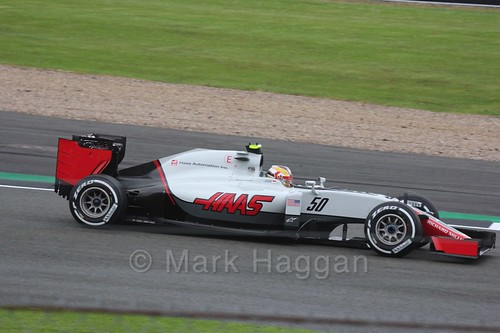 Charles Leclerc in the Haas in Free Practice 1 at the 2016 British Grand Prix