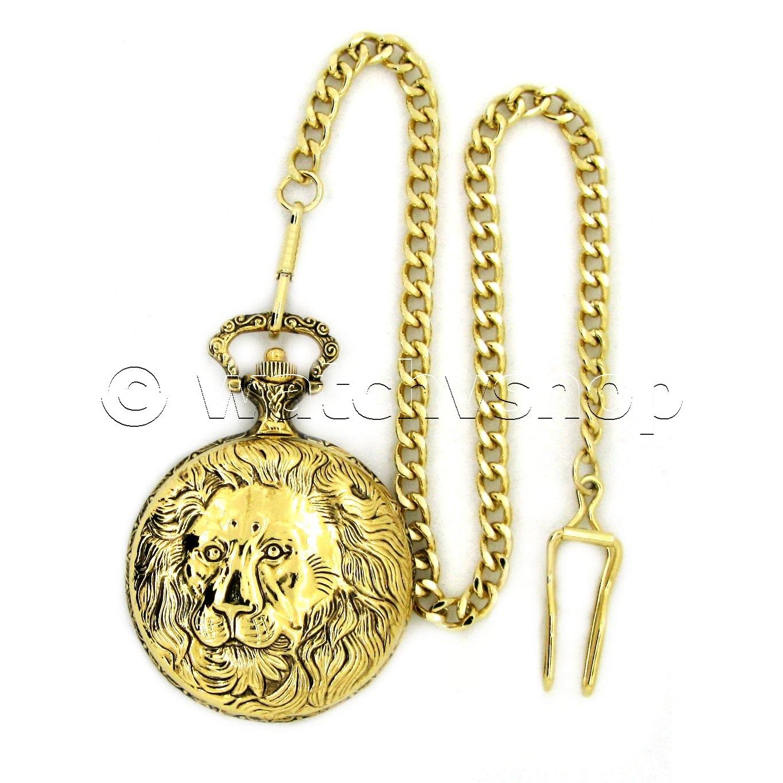 Gold Antique Mens Quartz Pocket Watch Lion Design With Fob Chain T Box P160