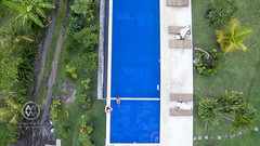 Views of a pool from above.