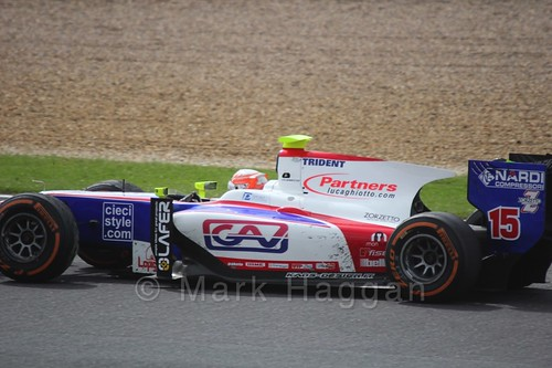 Luca Ghiotto in the Trident car in the GP2 Feature Race at the 2016 British Grand Prix