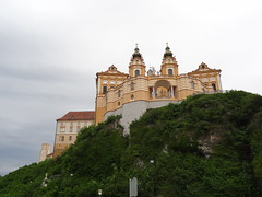 Melk Abbey high on a hill above the town