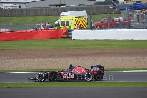 Daniil Kvyat in his Toro Rosso in Free Practice 3 at the 2016 British Grand Prix at Silverstone