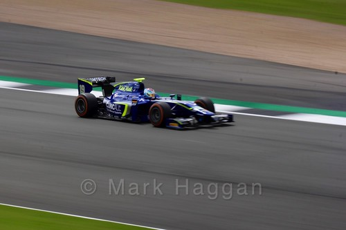 Marvin Kirchhöfer in his Carlin car in GP2 Practice at the 2016 British Grand Prix