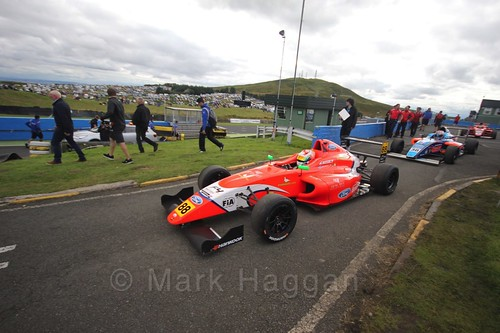 Jack Martin ahead of the final British Formula Four race during the BTCC Knockhill Weekend 2016