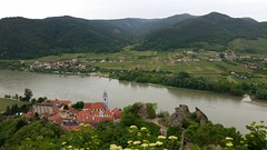 Pretty town of Durnstein from the ruins above