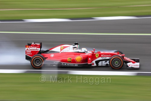Sebastian Vettel locks up in Free Practice 1 at the 2016 British Grand Prix
