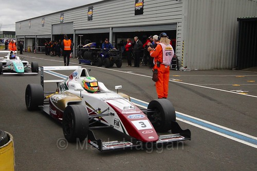 Sennan Fielding in British Formula Four race 2 during the BTCC Knockhill Weekend 2016