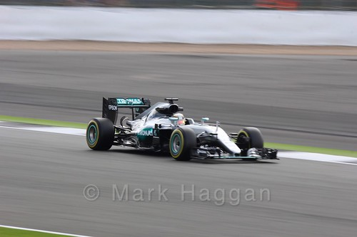 Lewis Hamilton in his Mercedes during Free Practice 2 at the 2016 British Grand Prix