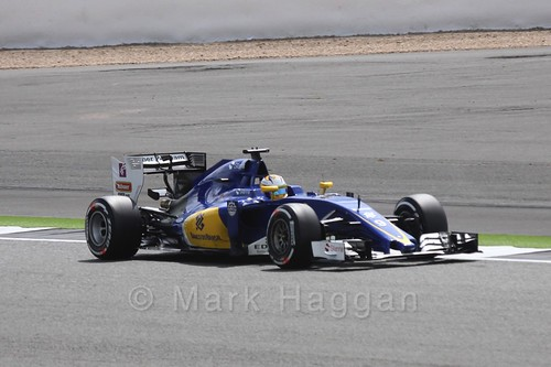 Marcus Ericsson in his Sauber in Free Practice 2 at the 2016 British Grand Prix