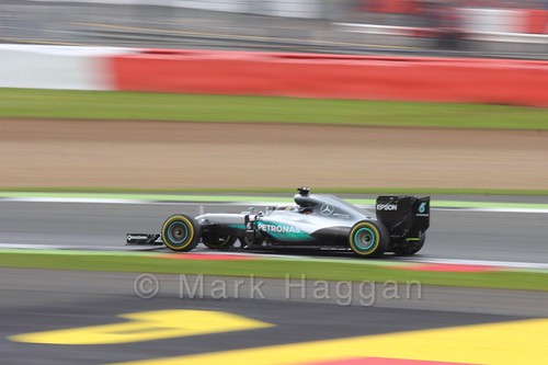 Lewis Hamilton in his Mercedes during qualifying at the 2016 British Grand Prix