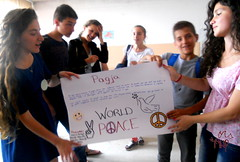 Girls Presenting Peace Poster