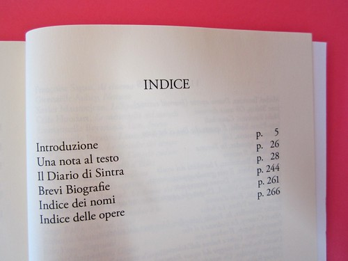 Auden, Isherwood, Spender, Il diario di Sintra; a cura di Matthew Spender e Luca Scarlini. In cop.: W.H.Auden, S. Spender, C. Isherwood, 1929. [resp. grafica non indicata]. p. dell'indice(part.), 1
