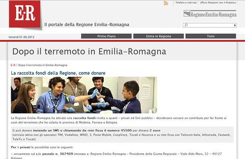 ITALIA - EMERGENZA EMILIA & TERREMOTO SISMA EMILIA: Dopo il terremoto in Emilia-Romagna / La raccolta fondi della Regione, come donare. IL PORTALE DELLA REGIONE EMILIA-ROMAGNA (01/06/2012). by Martin G. Conde