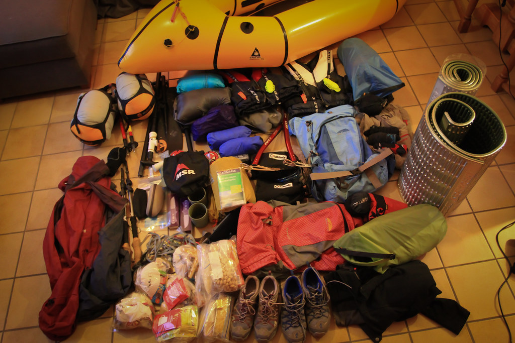 Packing for a general rehearsal on hiking and packrafting in the Alps - click for more details