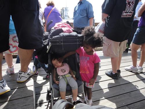 along the wharf