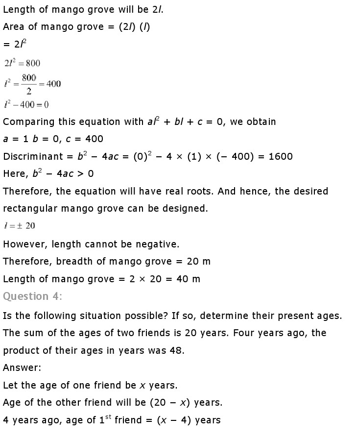 NCERT Solutions For Class 10th Maths Chapter 4 Quadratic Equations PDF Download 2018-19