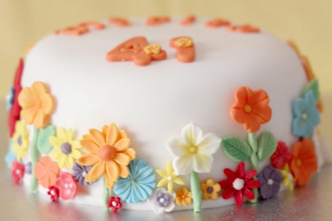 Tarta de cumpleaños primavera