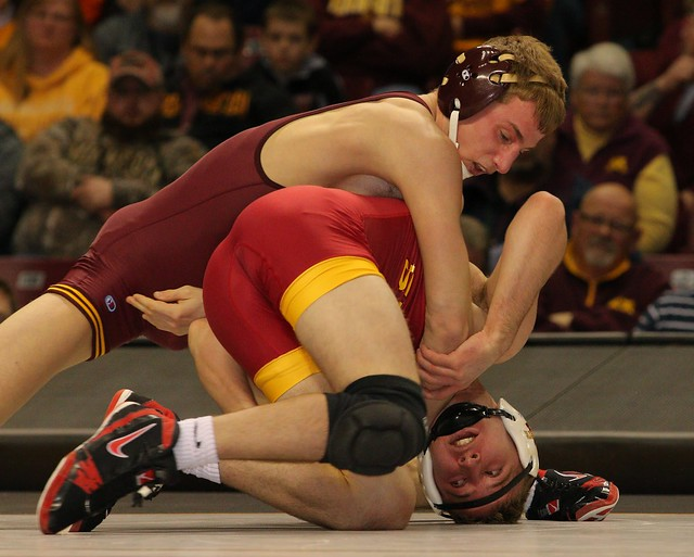 141 - #6 Tommy Thorn (Minnesota) dec. Nathan Boston (Iowa State) 4-0. Photo by Mark Beshey.