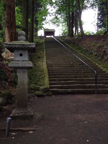Stairs leading up to the Shrine in Aso