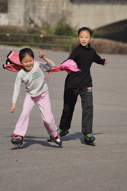 Pyongyang, North Korea Rollerblading