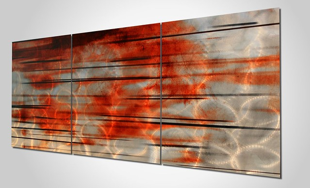 Contemporary Silver Orange Wall Art