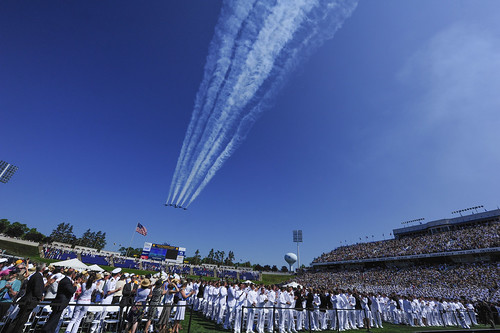 The U.S. Navy flight demonstration squadron Blue Angels perform a formation flyover as part of the official ceremonies at the 2012 U.S. Naval Academy graduation and commissioning ceremony. by Official U.S. Navy Imagery