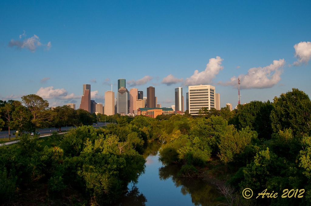 Downtown Houston through Buffalo Bayou