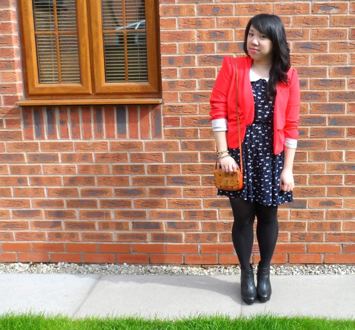 MCM red jacket outfit