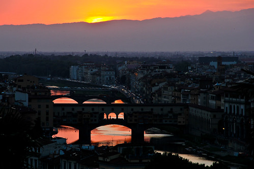 Sunset over Arno River, Florence