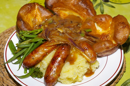 Sausage and mash with Yorkshire puddings and onion gravy by La belle dame sans souci